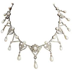 1910s Important Antique Natural Pearl Diamond Platinum  Necklace