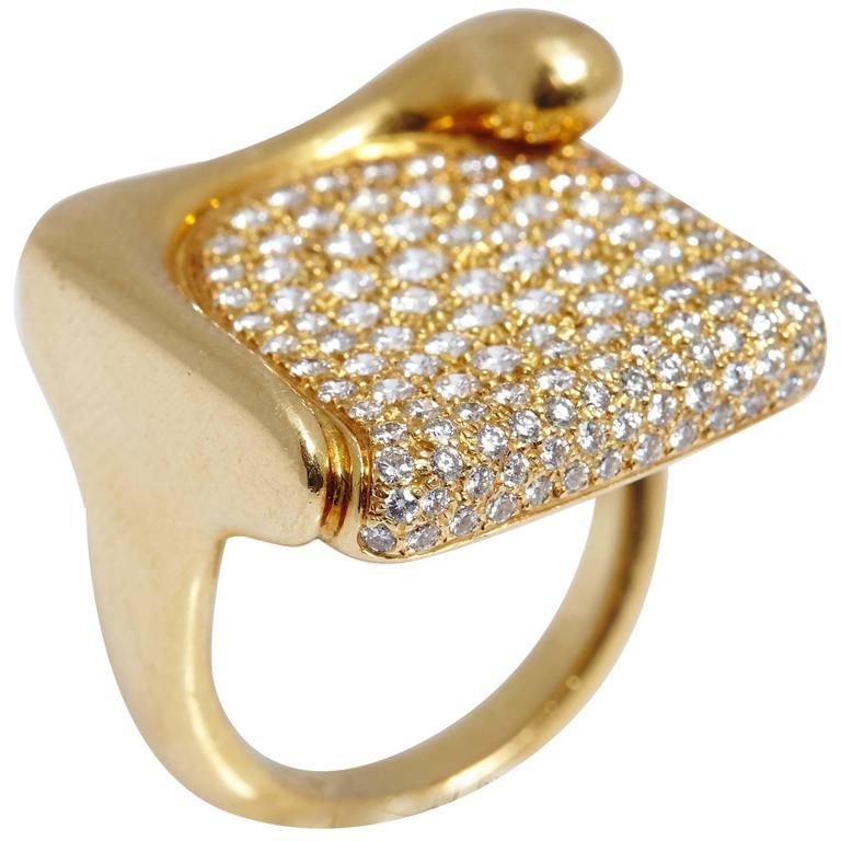 Tiffany And Co Elsa Peretti Diamond Gold Ring At 1stdibs