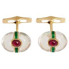 1960s Bulgari Rock Crystal Cabochon Rubies Emerald Gold Dolce Vita Cufflinks