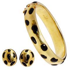 Leopard Gold Onyx Bracelet Earclips Set