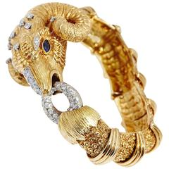 1970s Diamond Gold Ram's Head Bracelet