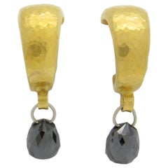Gurhan  Black Diamond gold Drop Earrings