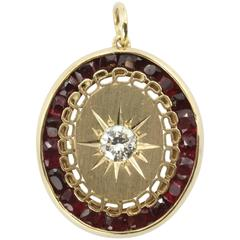Victorian Revival Ruby Diamond Gold Pendant