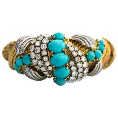 1950s 18 Karat Yellow Gold, Diamond, Persian Turquoise Bangle Bracelet