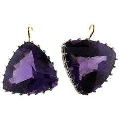 Renee Lewis Mismatched Amethyst Gold Triangle Earrings