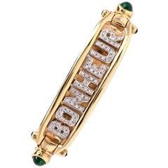 "Diamond Gold ""BONHEUR"" Bangle Bracelet"