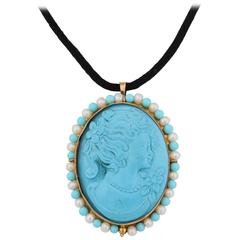 "Amedeo ""Amalfi"" Cameo Turquoise Pearls Brooch Pendant"