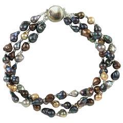 Triple Strand of Multi Color Baroque Pearls Necklace