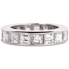 Asscher Diamonds Platinum Eternity Band Ring