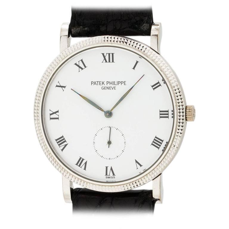 Patek Philippe White Gold Hobnail Bezel Manual Wind Wristwatch Ref 3919 For Sale