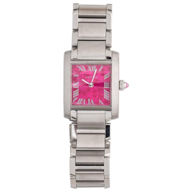 Cartier Stainless Steel Tank Francaise LtdEd Raspberry Quartz Wristwatch