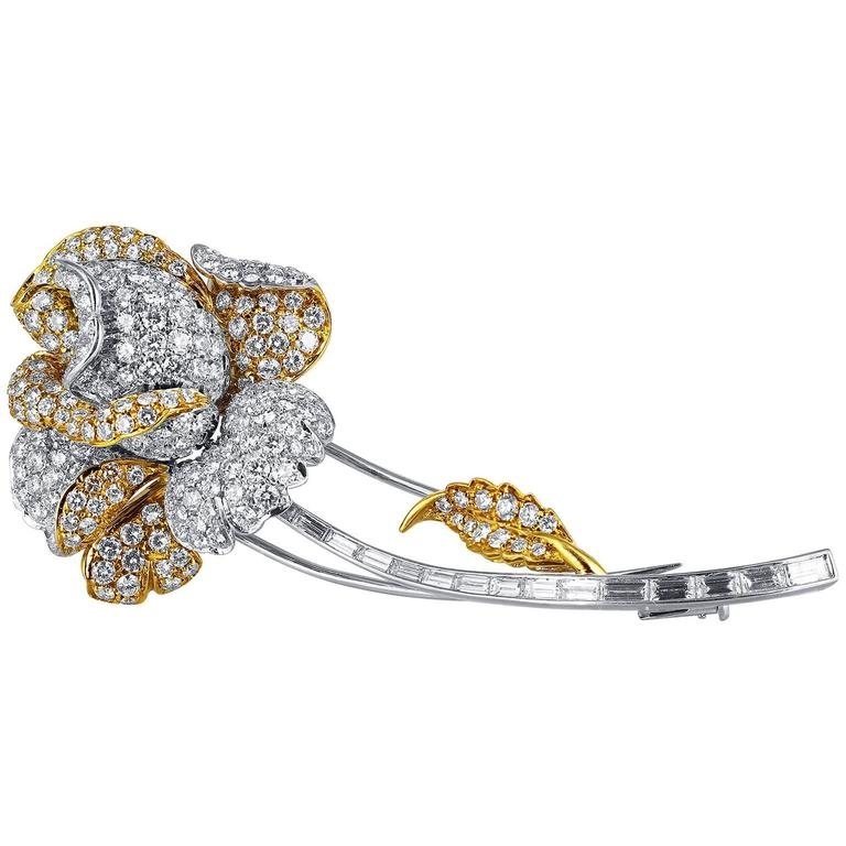 Diamond Gold Floral Brooch For Sale