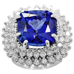 Estate Fashion Ring 13.00 Carat Tanzanite Diamond Gold Ring