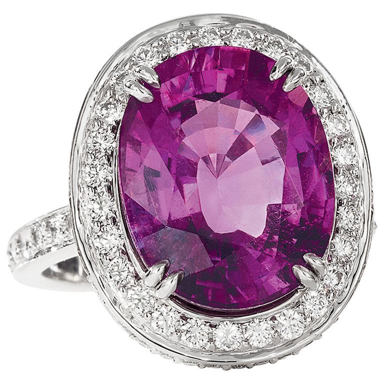 Rare Purple Tourmaline Diamond Platinum Ring For Sale