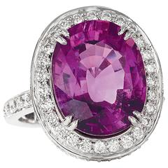 Rare Purple Tourmaline Diamond Platinum Ring