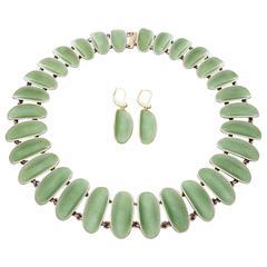 David Andersen Scandinavian Modern Silver Guilloche Enamel Necklace Earrings