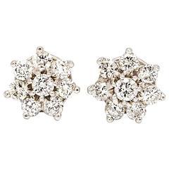 1960s Stunning Diamond Gold Cluster Earrings