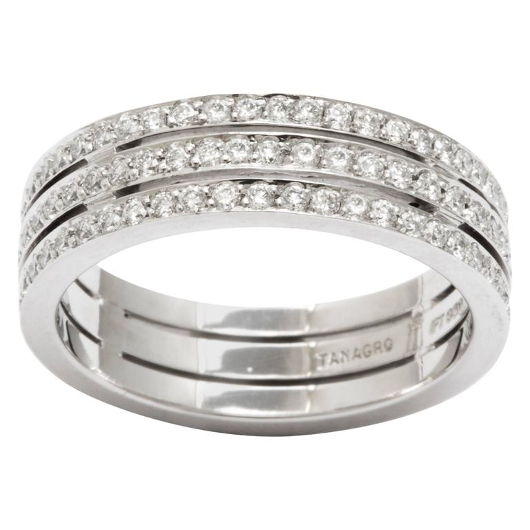 Tanagro 1.00 Carat Diamonds Eternity Triple Platinum Band Ring