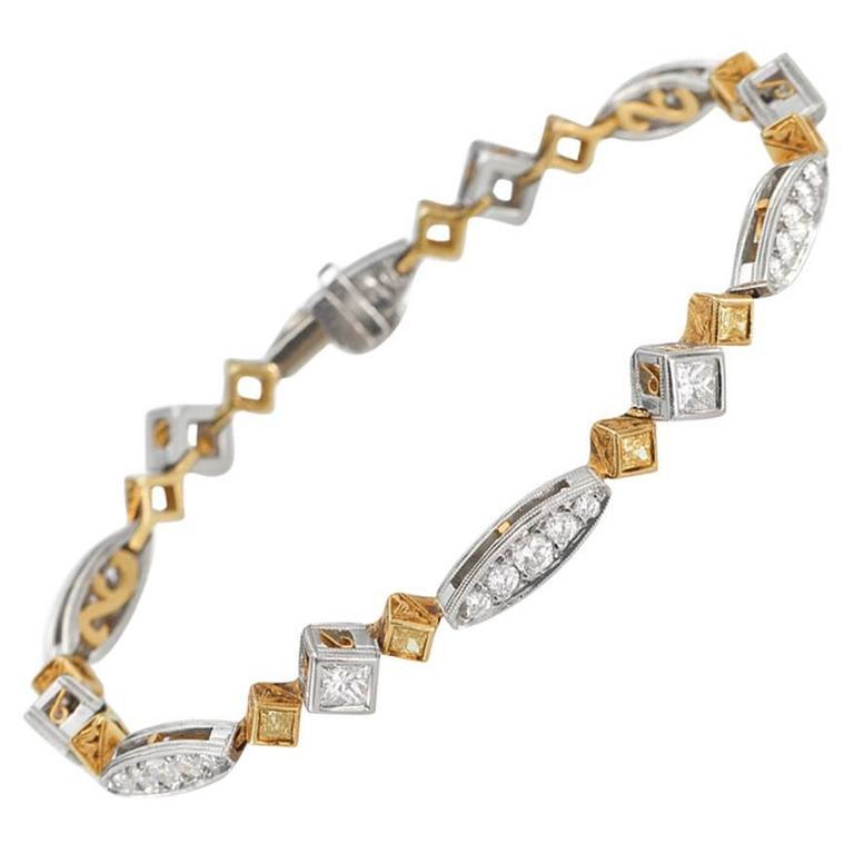 Fancy Yellow Diamond Gold Platinum Bracelet