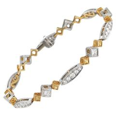 Fancy Yellow Diamond Gold Platinum Bracelet