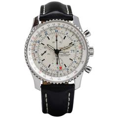Breitling Stainless Steel Navtimer World Chronograph GMT Automatic Wristwatch
