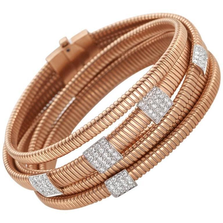 Diamond Gold Five Station Cuff Bracelet