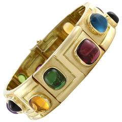 Bruno Guidi Modernist Multicolor Tourmaline Quartz Gold Bracelet