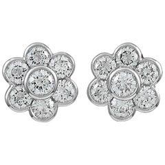 VAN CLEEF & ARPELS Diamond Platinum Ear Clips