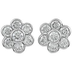 VAN CLEEF & ARPELS Diamond Platinum Ear Clips