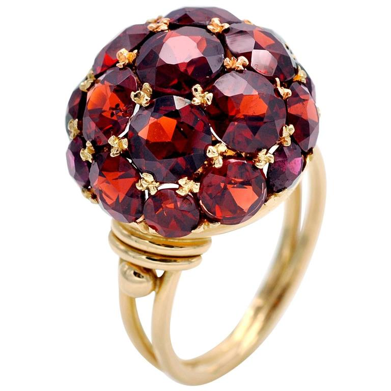 1950s Garnet and Gold Ball Shaped Cluster Dome Ring