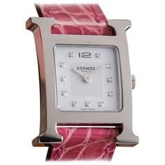 Hermes Ladies Stainless Steel Mother of Pearl Dial H-Our Wristwatch