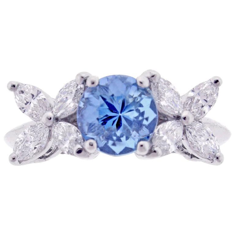 Tiffany & Co. Aquamarine Platinum Victoria Ring