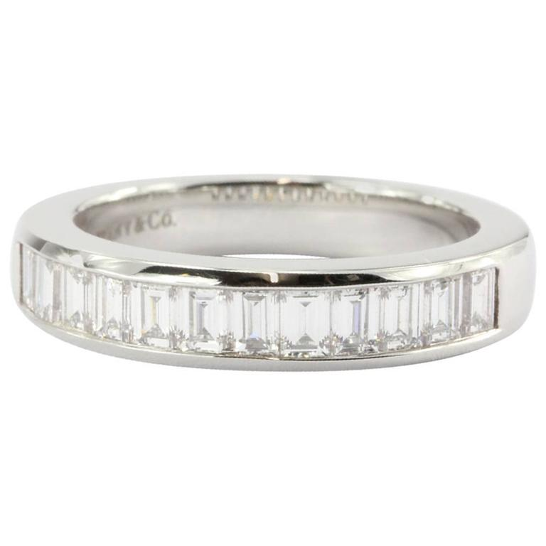 Tiffany & Co. Diamond Platinum Channel Set Band Ring