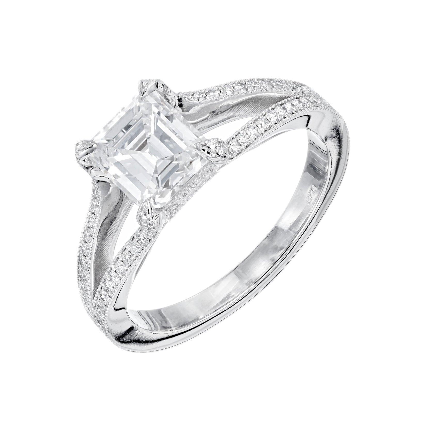 Peter Suchy 1.22 Carat Asscher Cut Diamond Split Shank Platinum Engagement Ring