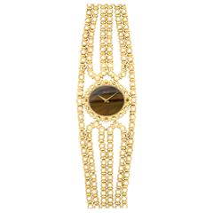 Piaget Ladies Yellow Gold Tiger's Eye Bracelet Wristwatch