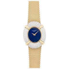 Patek Philippe Ladies Yellow Gold Diamond Lapis Lazuli Bracelet Wristwatch