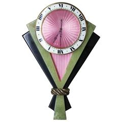 Art Deco Enamel Serpentine Onyx 8 Day Manual WindClock