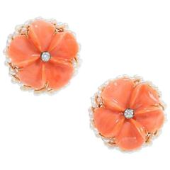 Carved Coral Diamond Pearl Gold Flower Earrings