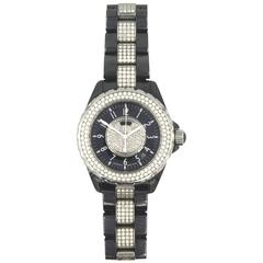 Chanel Ladies Black Ceramic Diamond J12 Quartz Wristwatch