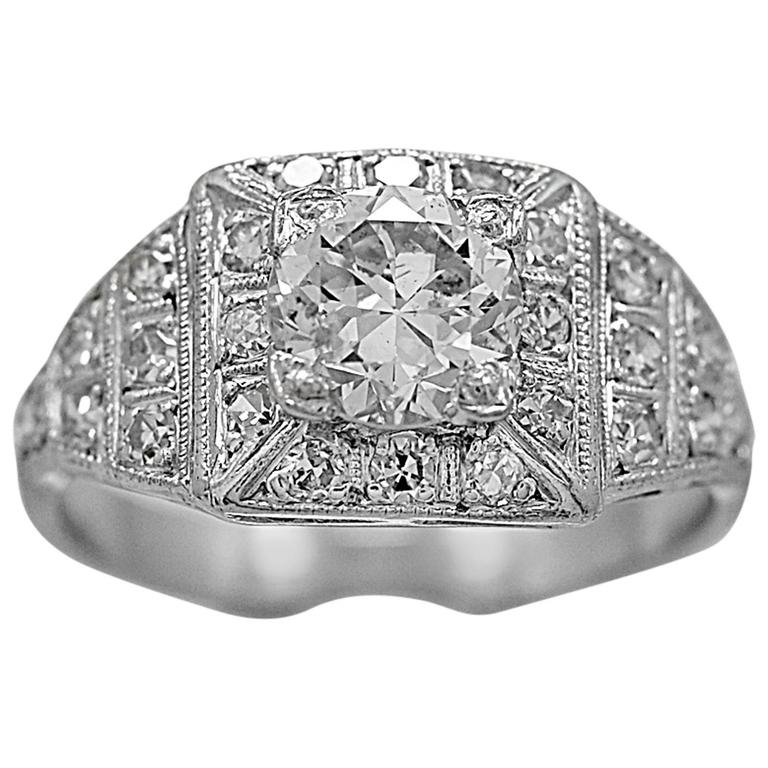 Art Deco .97 Carat Diamond Platinum Engagement Ring
