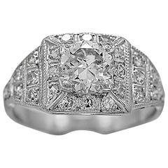 Antique Engagement Ring .97 Carat Diamond & Platinum Art Deco