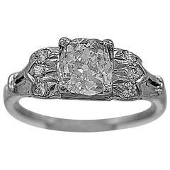 Art Deco 1.00 Carat Diamond Platinum Engagement Ring