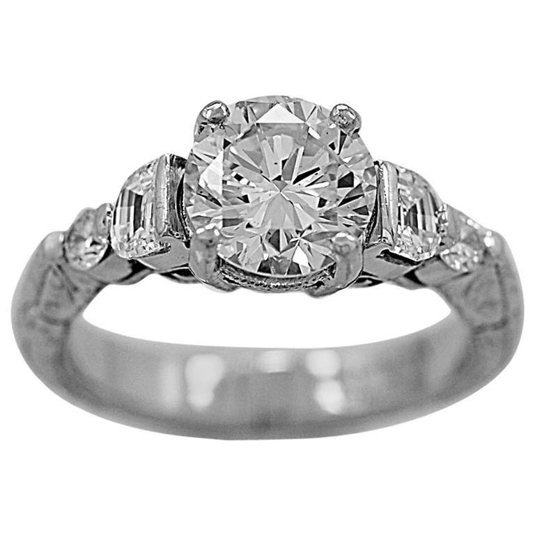 1.30 Carat Diamond Platinum Engagement Ring