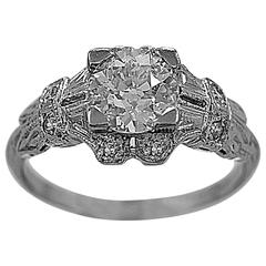 .84 Carat Diamond Antique Deco Engagement Ring Platinum