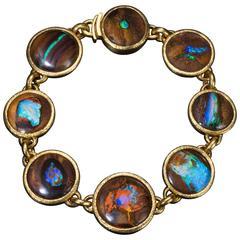 Gold Bracelet with Australian Boulder Opal