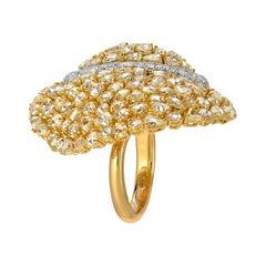 Modern Diamond Gold Flexible Cocktail Ring