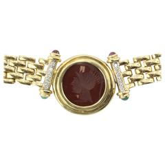 Carnelian Emerald Ruby Diamond Gold Greek Warrior Necklace