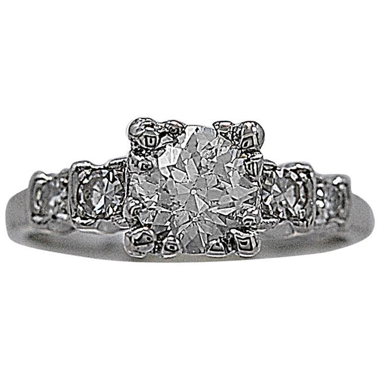 1930s .84 Carat Diamond Platinum Engagement Ring