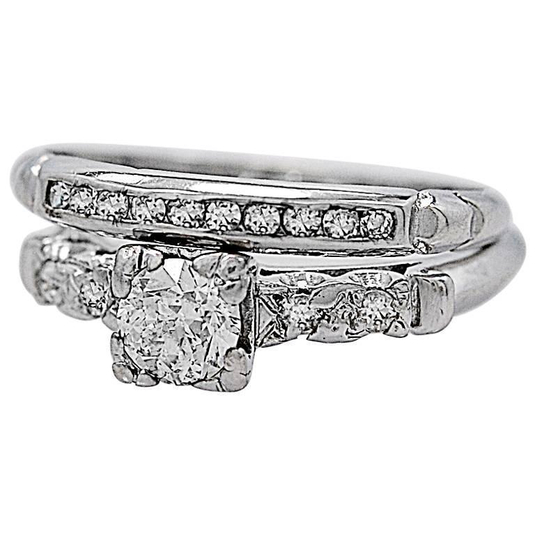 Art Deco 35 Carat Diamond Platinum Wedding Ring Set For Sale At 1stdibs