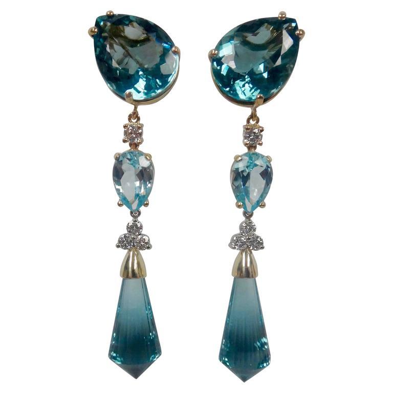 Three Color Blue Topaz Briolette Diamond Dangle Drop Earrings 1